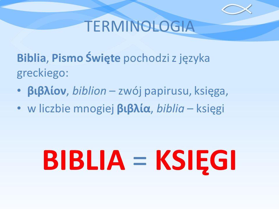TERMINOLOGIA Biblia, Pismo Święte pochodzi z języka greckiego: βιβλίον, biblion – zwój papirusu, księga, w liczbie mnogiej βιβλία, biblia – księgi BIB