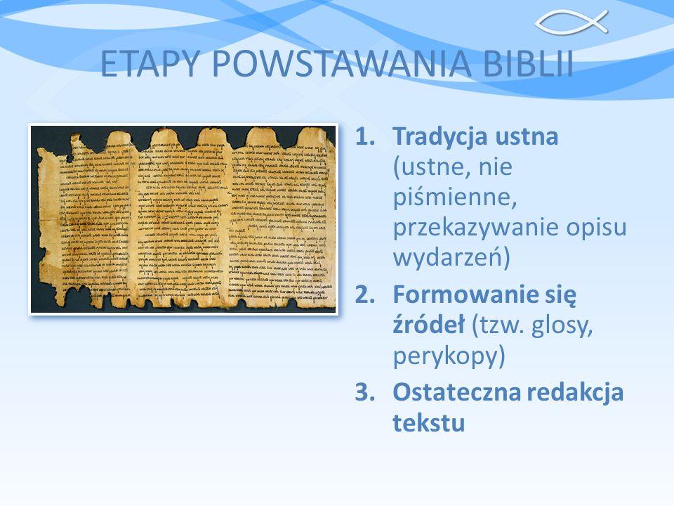 ETAPY POWSTAWANIA BIBLII 1.Tradycja ustna (ustne, nie piśmienne, przekazywanie opisu wydarzeń) 2.Formowanie się źródeł (tzw. glosy, perykopy) 3.Ostate