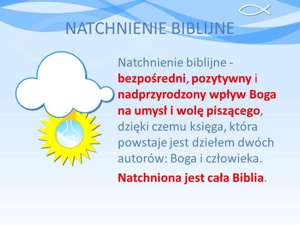 NATCHNIENIE BIBLIJNE Natchnienie biblijne - bezpośredni, pozytywny i nadprzyrodzony wpływ Boga na umysł i wolę piszącego, dzięki czemu księga, która p