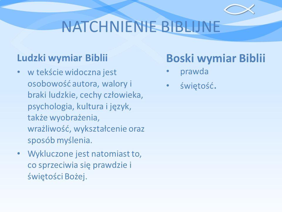 NATCHNIENIE BIBLIJNE Świadectwa biblijne o natchnieniu: 2 Tm 3,16-17: Wszelkie Pismo od Boga natchnione /jest/ i pożyteczne do nauczania, do przekonywania, do poprawiania, do kształcenia w sprawiedliwości - aby człowiek Boży był doskonały, przysposobiony do każdego dobrego czynu. 2 P 1,20-21: To przede wszystkim miejcie na uwadze, że żadne proroctwo Pisma nie jest dla prywatnego wyjaśnienia.