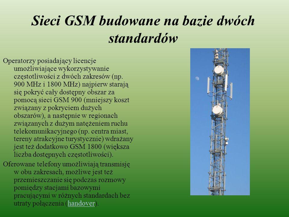 Sieci GSM budowane na bazie dwóch standardów Operatorzy posiadający licencje umożliwiające wykorzystywanie częstotliwości z dwóch zakresów (np. 900 MH