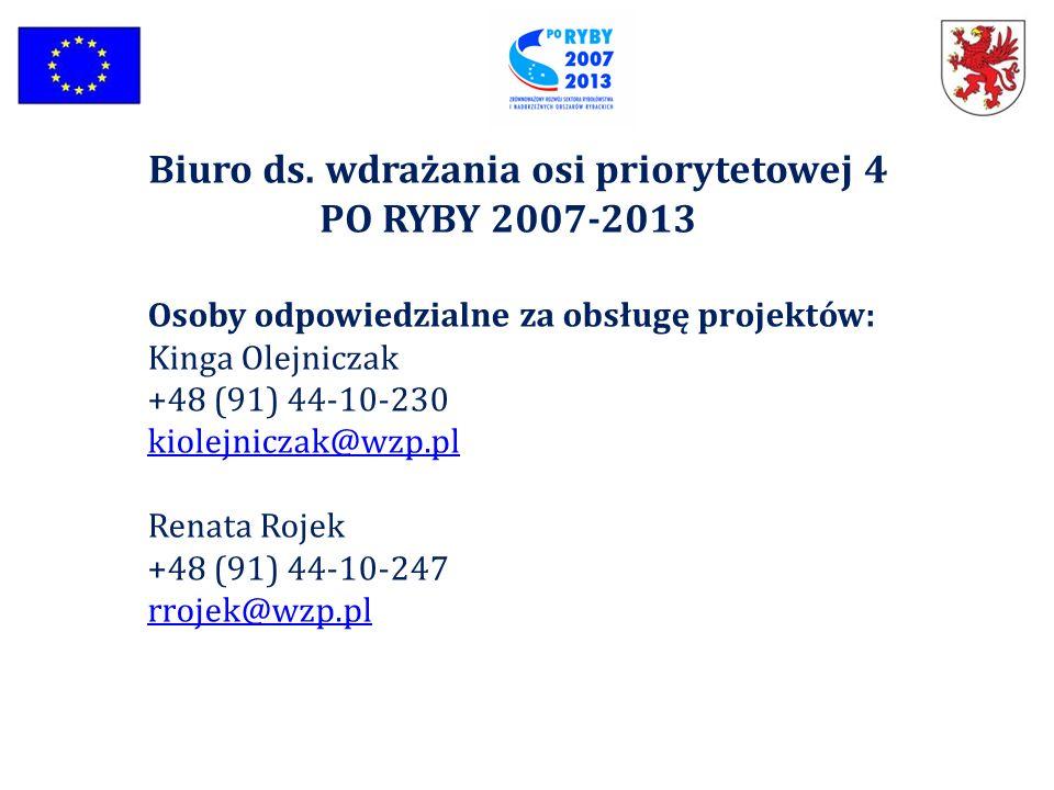 Biuro ds. wdrażania osi priorytetowej 4 PO RYBY 2007-2013 Osoby odpowiedzialne za obsługę projektów: Kinga Olejniczak +48 (91) 44-10-230 kiolejniczak@