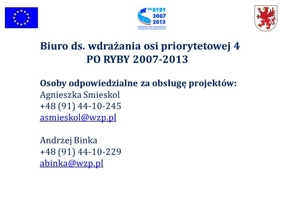 Biuro ds. wdrażania osi priorytetowej 4 PO RYBY 2007-2013 Osoby odpowiedzialne za obsługę projektów: Agnieszka Smieskol +48 (91) 44-10-245 asmieskol@w