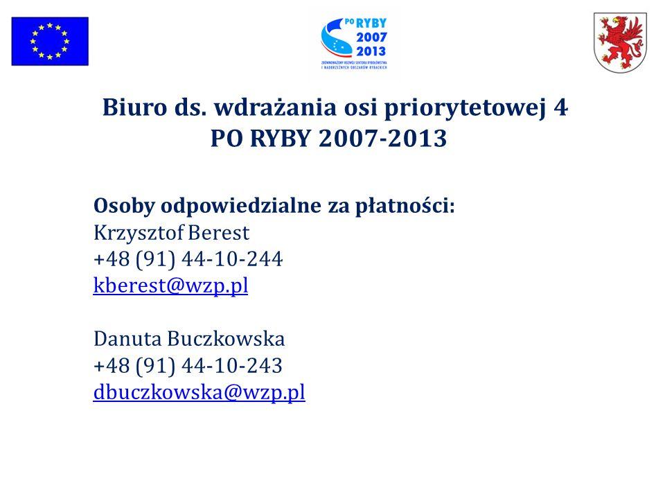 Osoby odpowiedzialne za płatności: Krzysztof Berest +48 (91) 44-10-244 kberest@wzp.pl kberest@wzp.pl Danuta Buczkowska +48 (91) 44-10-243 dbuczkowska@