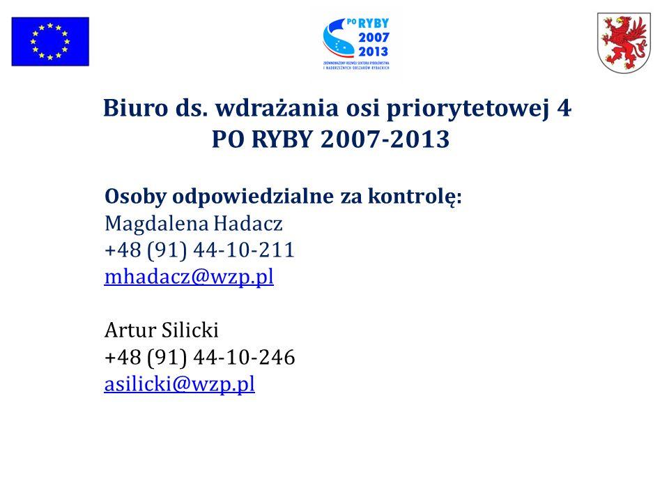 Osoby odpowiedzialne za kontrolę: Magdalena Hadacz +48 (91) 44-10-211 mhadacz@wzp.pl mhadacz@wzp.pl Artur Silicki +48 (91) 44-10-246 asilicki@wzp.pl a