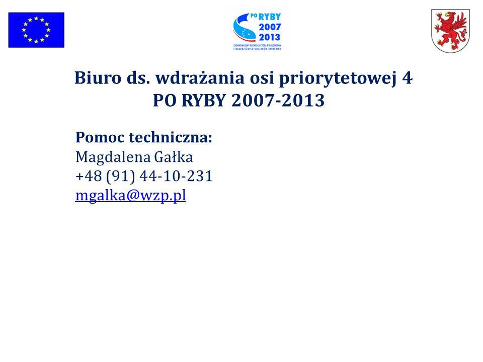 Pomoc techniczna: Magdalena Gałka +48 (91) 44-10-231 mgalka@wzp.pl mgalka@wzp.pl Biuro ds. wdrażania osi priorytetowej 4 PO RYBY 2007-2013