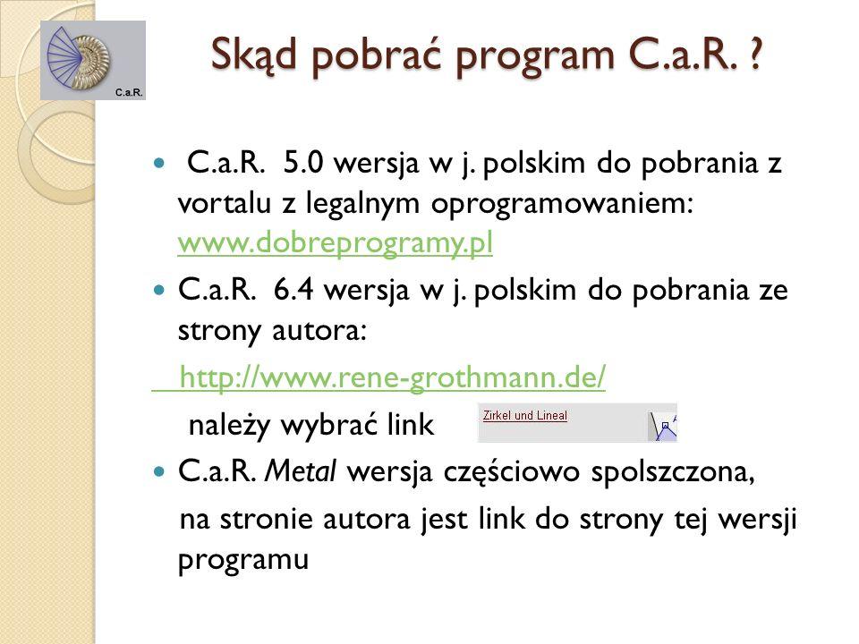 Różnice pomiędzy wersjami programu różnią się zestawem narzędzi; liczbą gotowych makroprogramów tylko w wersji C.a.R.Metal można tworzyć bryły pasek narzędzi wersji C.a.R 5.0 pasek narzędzi wersji C.a.R.