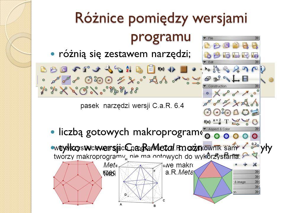Różnice pomiędzy wersjami programu różnią się zestawem narzędzi; liczbą gotowych makroprogramów tylko w wersji C.a.R.Metal można tworzyć bryły pasek n