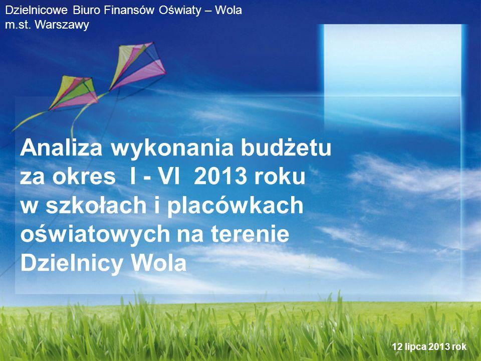 Analiza wykonania budżetu za okres I - VI 2013 roku w szkołach i placówkach oświatowych na terenie Dzielnicy Wola Dzielnicowe Biuro Finansów Oświaty – Wola m.st.