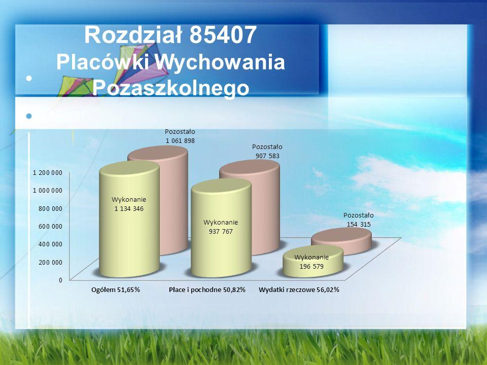 Rozdział 85407 Placówki Wychowania Pozaszkolnego