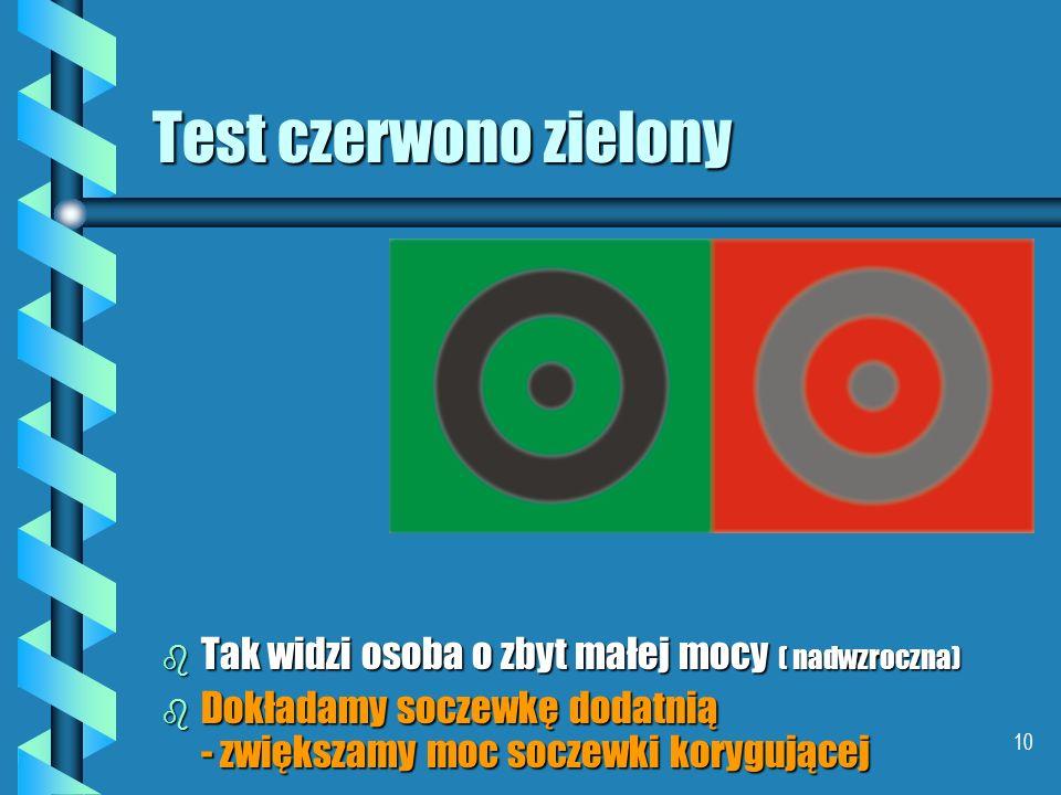 9 Test czerwono zielony b W oku nadwzrocznym o za małej zdolności skupiającej do długości gałki promienie zielone skupiają się bliżej siatkówki niż cz