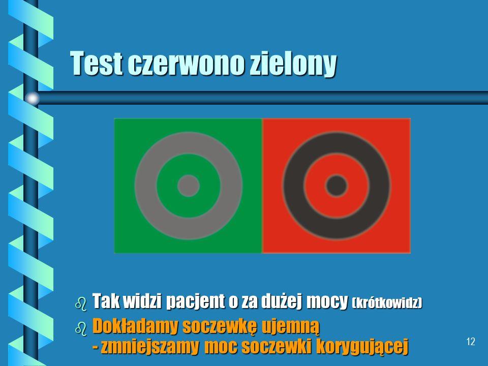 11 Test czerwono zielony b W oku krótkowzrocznym o za dużej zdolności skupiającej do długości gałki promienie czerwone skupiają się bliżej siatkówki n