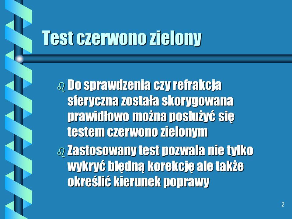 12 Test czerwono zielony b Tak widzi pacjent o za dużej mocy (krótkowidz) b Dokładamy soczewkę ujemną - zmniejszamy moc soczewki korygującej