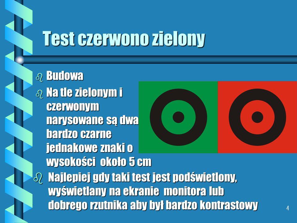 4 Test czerwono zielony b Budowa b Na tle zielonym i czerwonym narysowane są dwa bardzo czarne jednakowe znaki o wysokości około 5 cm bNajlepiej gdy taki test jest podświetlony, wyświetlany na ekranie monitora lub dobrego rzutnika aby był bardzo kontrastowy