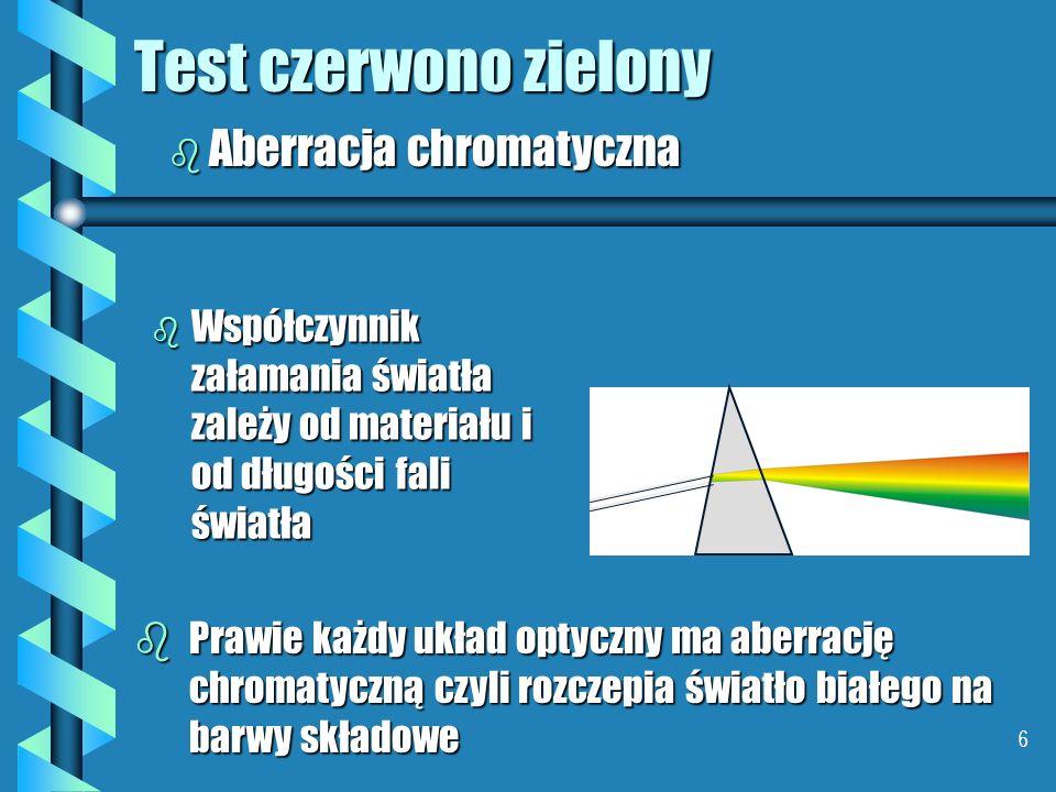 6 Test czerwono zielony b Współczynnik załamania światła zależy od materiału i od długości fali światła bPrawie każdy układ optyczny ma aberrację chromatyczną czyli rozczepia światło białego na barwy składowe b Aberracja chromatyczna
