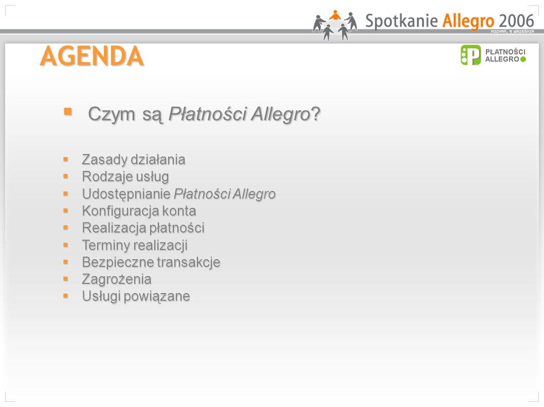 AGENDA Czym są Płatności Allegro? Czym są Płatności Allegro? Zasady działania Zasady działania Rodzaje usług Rodzaje usług Udostępnianie Płatności All