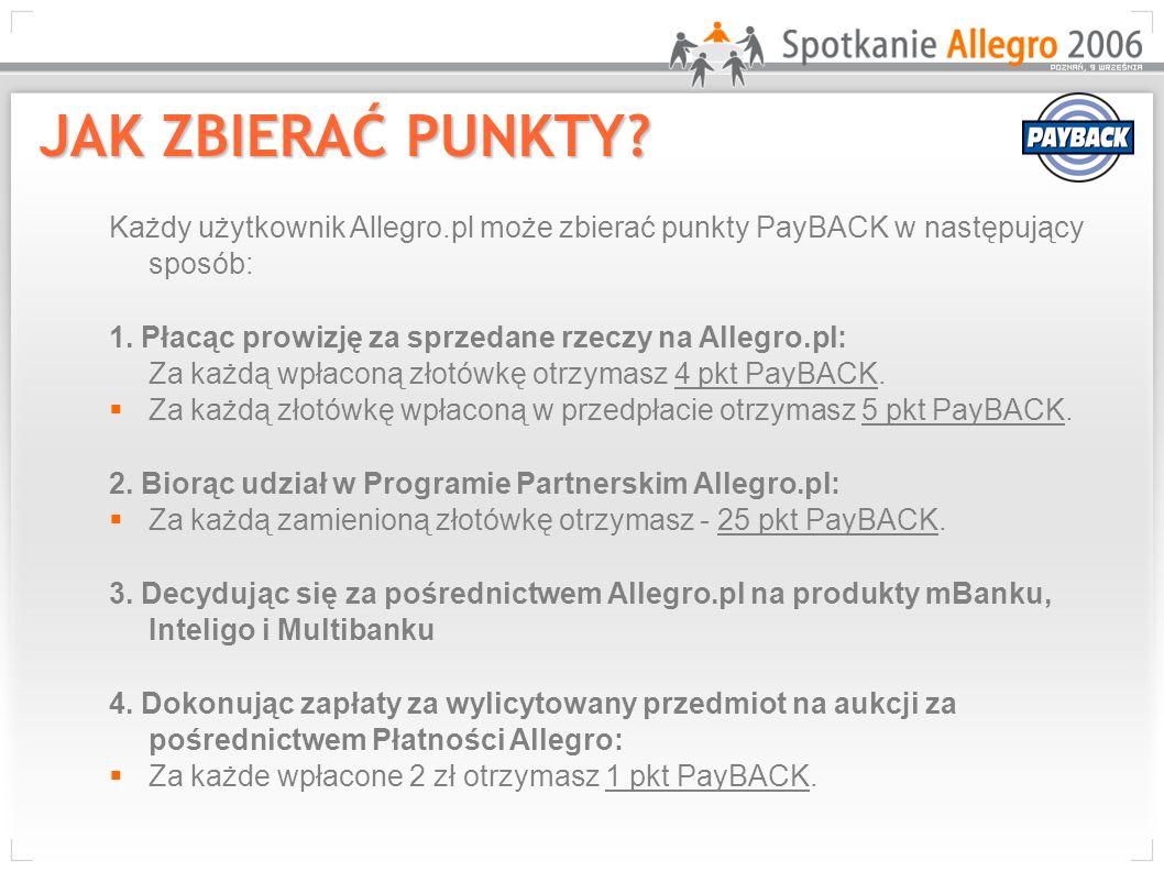 Każdy użytkownik Allegro.pl może zbierać punkty PayBACK w następujący sposób: 1. Płacąc prowizję za sprzedane rzeczy na Allegro.pl: Za każdą wpłaconą