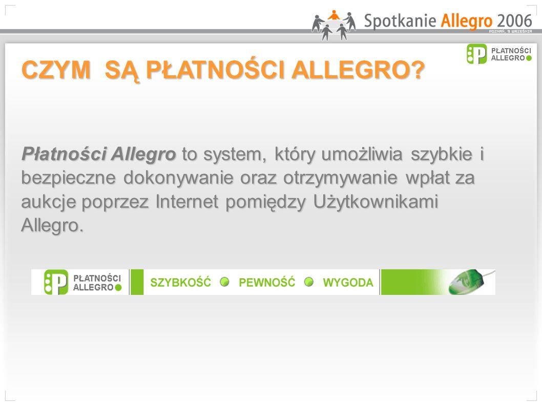 CZYM SĄ PŁATNOŚCI ALLEGRO? Płatności Allegro to system, który umożliwia szybkie i bezpieczne dokonywanie oraz otrzymywanie wpłat za aukcje poprzez Int