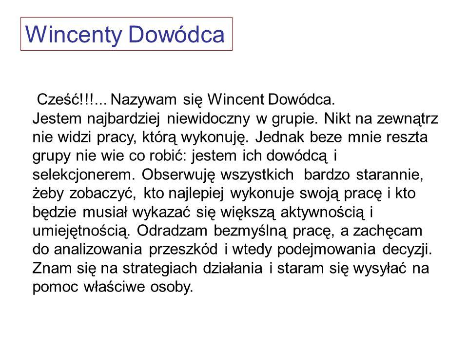 Wincenty Dowódca Cześć!!!... Nazywam się Wincent Dowódca.