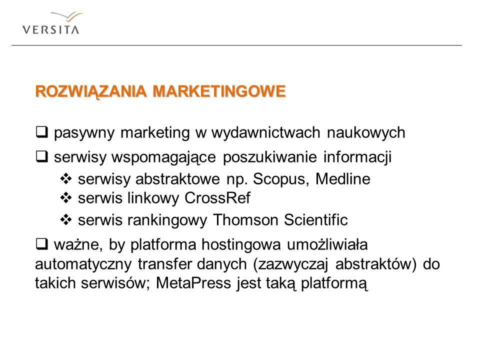 ROZWIĄZANIA MARKETINGOWE pasywny marketing w wydawnictwach naukowych serwisy wspomagające poszukiwanie informacji serwisy abstraktowe np. Scopus, Medl