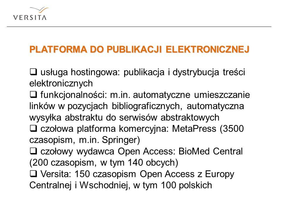 PLATFORMA DO PUBLIKACJI ELEKTRONICZNEJ usługa hostingowa: publikacja i dystrybucja treści elektronicznych funkcjonalności: m.in. automatyczne umieszcz