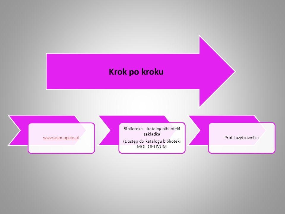 www.wsm.opole.pl Biblioteka – katalog biblioteki zakładka (Dostęp do katalogu biblioteki MOL-OPTIVUM Profil użytkownika Krok po kroku