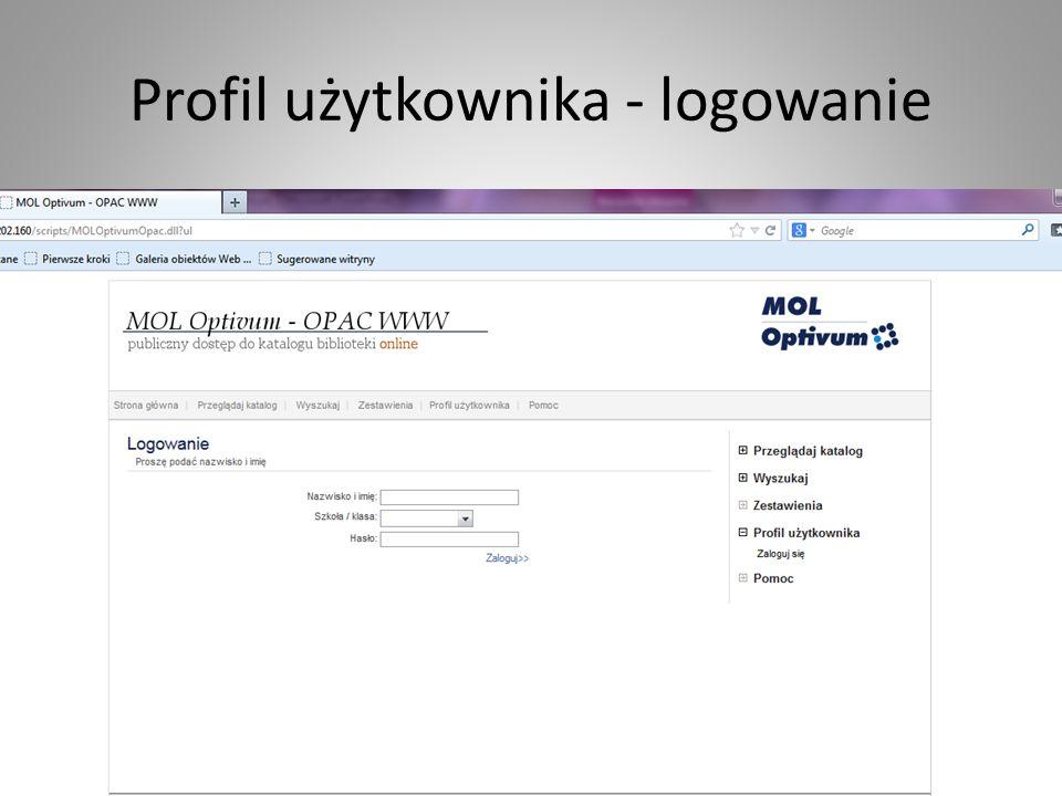 Profil użytkownika - logowanie