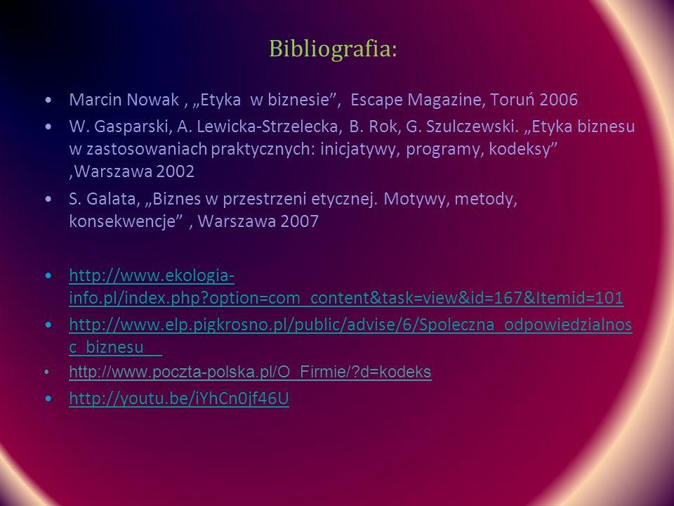 Bibliografia: Marcin Nowak, Etyka w biznesie, Escape Magazine, Toruń 2006 W. Gasparski, A. Lewicka-Strzelecka, B. Rok, G. Szulczewski. Etyka biznesu w