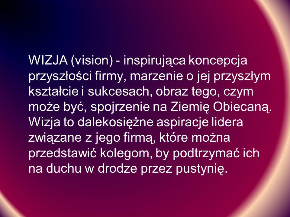 WIZJA (vision) - inspirująca koncepcja przyszłości firmy, marzenie o jej przyszłym kształcie i sukcesach, obraz tego, czym może być, spojrzenie na Zie