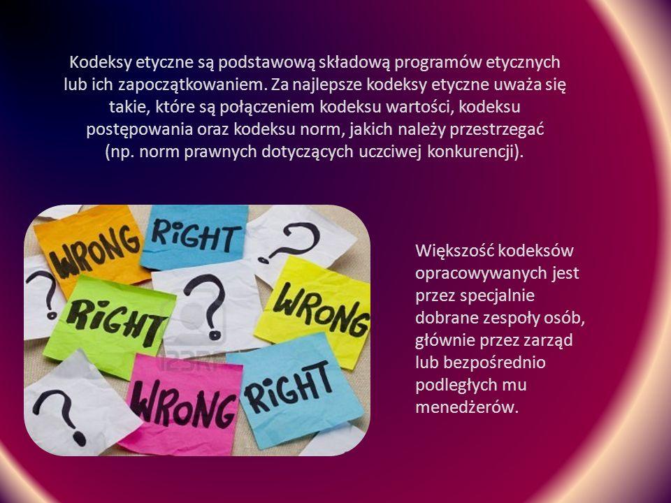 Struktura kodeksów etycznych Zasady ogólne Zagadnienia szczegółowe Rozstrzyganie sporów Sankcje (opcjonalnie) Część wstępna stanowi wyznanie wiary zwane czasem filozofią organizacji.
