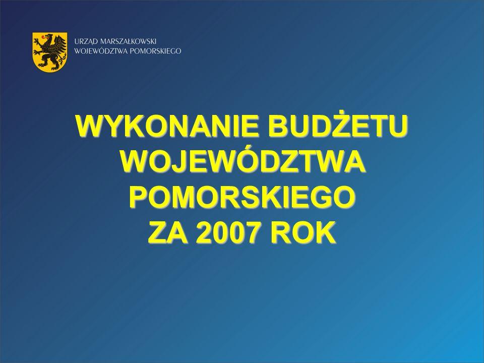 WYKONANIE BUDŻETU WOJEWÓDZTWA POMORSKIEGO ZA 2007 ROK