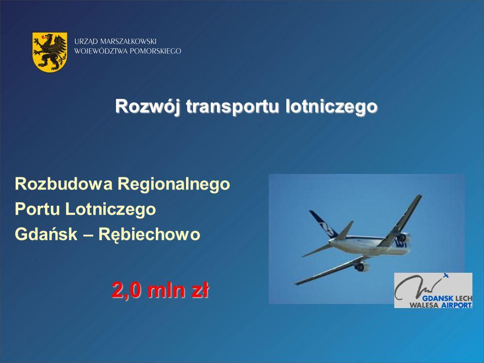 Rozwój transportu lotniczego Rozbudowa Regionalnego Portu Lotniczego Gdańsk – Rębiechowo 2,0 mln zł