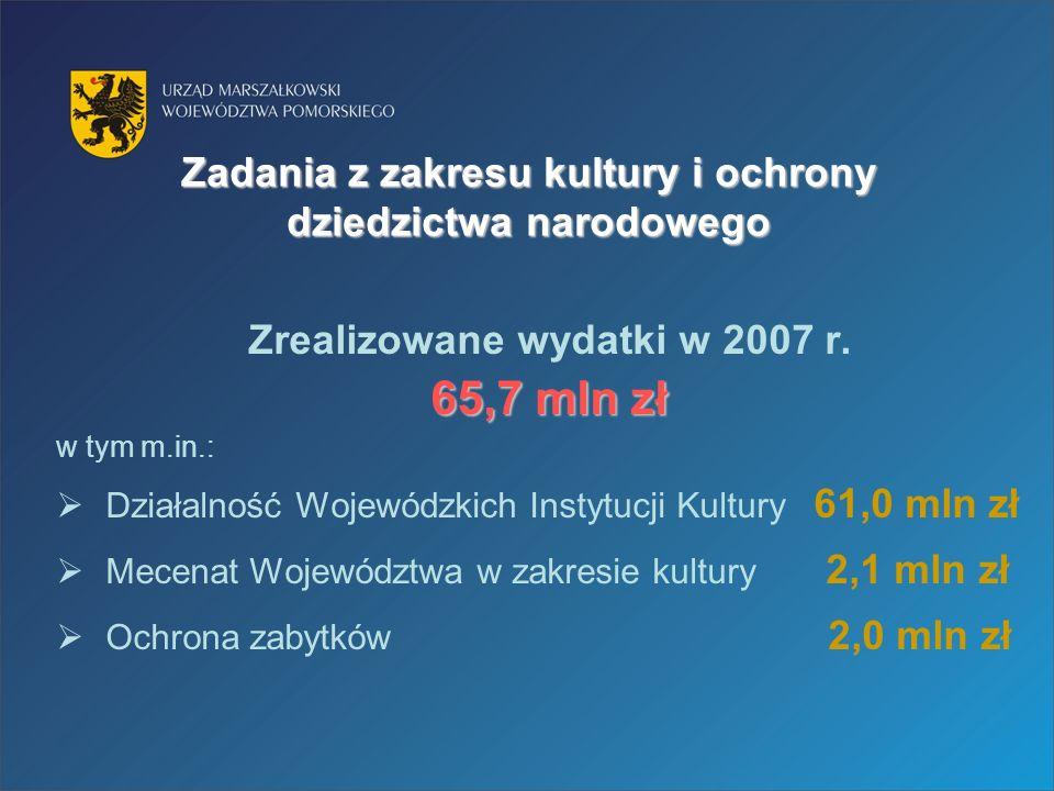 Zadania z zakresu kultury i ochrony dziedzictwa narodowego Zrealizowane wydatki w 2007 r.