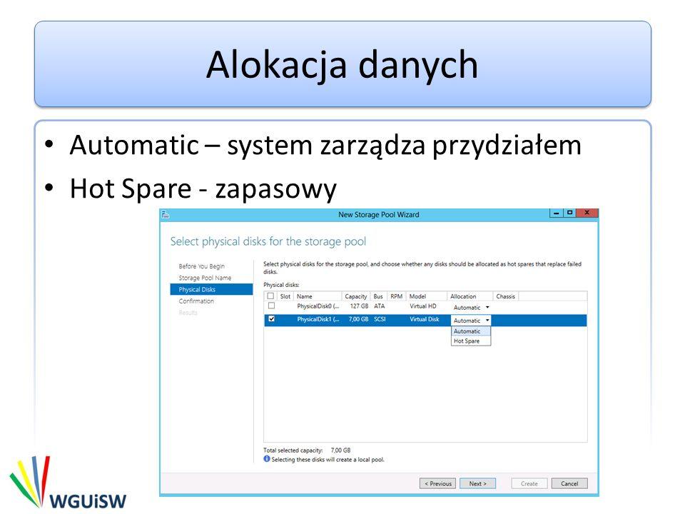 Alokacja danych Automatic – system zarządza przydziałem Hot Spare - zapasowy