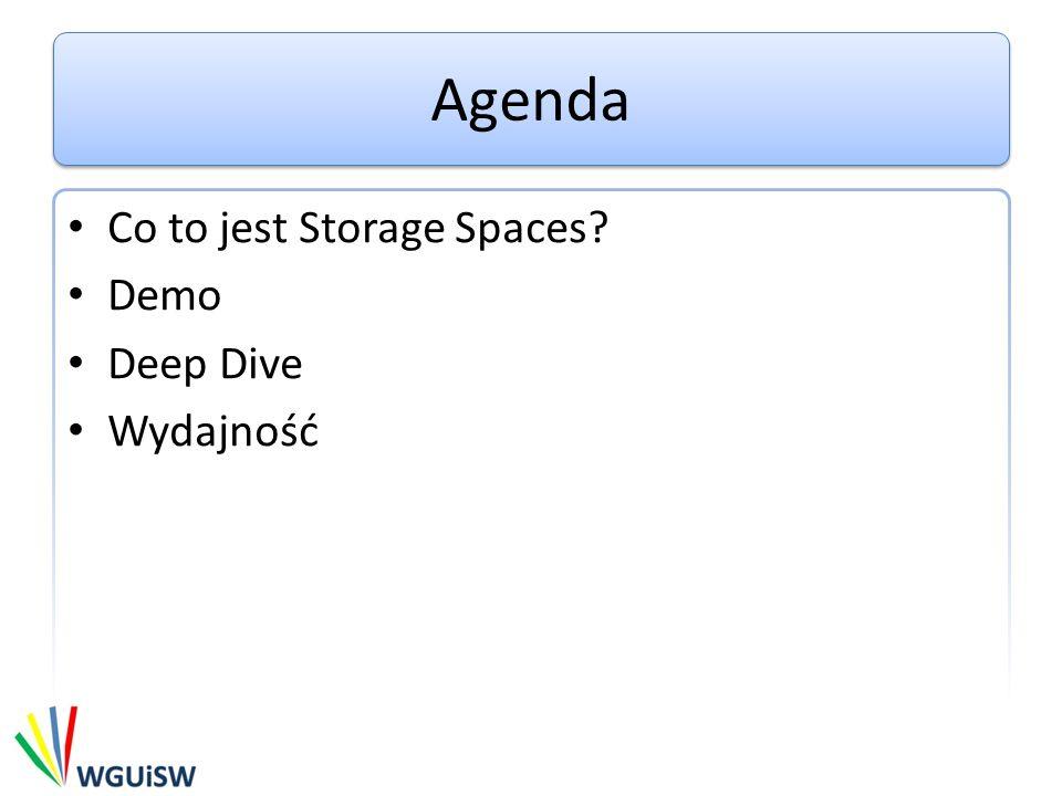 Agenda Co to jest Storage Spaces Demo Deep Dive Wydajność
