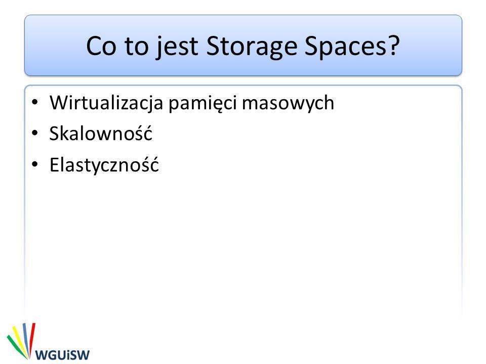 Co to jest Storage Spaces Wirtualizacja pamięci masowych Skalowność Elastyczność