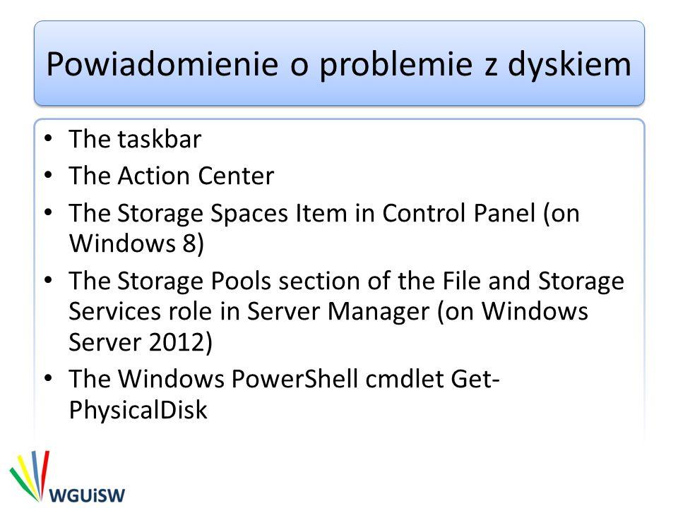 Powiadomienie o problemie z dyskiem The taskbar The Action Center The Storage Spaces Item in Control Panel (on Windows 8) The Storage Pools section of