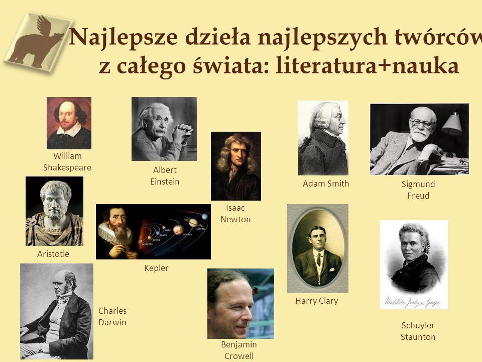 Najlepsze dzieła najlepszych twórców z całego świata: literatura+nauka William Shakespeare Albert Einstein Isaac Newton Adam Smith Sigmund Freud Arist