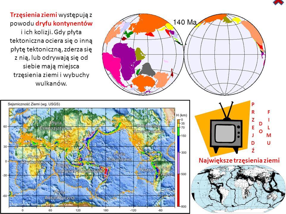 Trzęsienia ziemi występują z powodu dryfu kontynentów i ich kolizji.