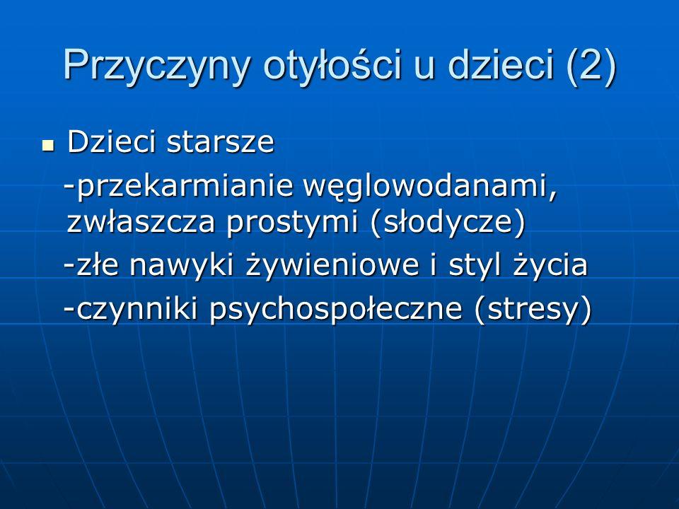 Przyczyny otyłości u dzieci (2) Dzieci starsze Dzieci starsze -przekarmianie węglowodanami, zwłaszcza prostymi (słodycze) -przekarmianie węglowodanami, zwłaszcza prostymi (słodycze) -złe nawyki żywieniowe i styl życia -złe nawyki żywieniowe i styl życia -czynniki psychospołeczne (stresy) -czynniki psychospołeczne (stresy)