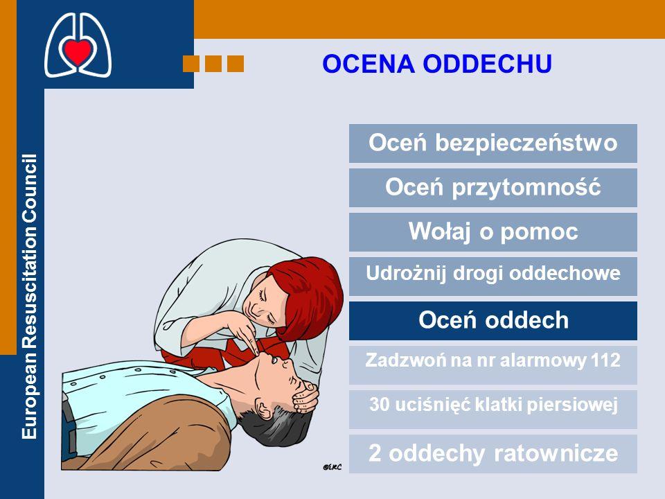 European Resuscitation Council OCENA ODDECHU Oceń bezpieczeństwo Oceń przytomność Wołaj o pomoc Udrożnij drogi oddechowe Oceń oddech Zadzwoń na nr ala