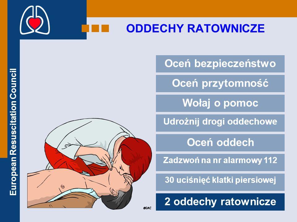 European Resuscitation Council ODDECHY RATOWNICZE Zaciśnij nos Obejmij wargami usta poszkodowanego Dmuchaj dopóki nie uniesie się klatka piersiowa Poświęć na to około 1 sekundę Pozwól klatce opaść Powtórz