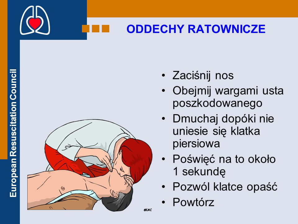 European Resuscitation Council ODDECHY RATOWNICZE Zaciśnij nos Obejmij wargami usta poszkodowanego Dmuchaj dopóki nie uniesie się klatka piersiowa Poś
