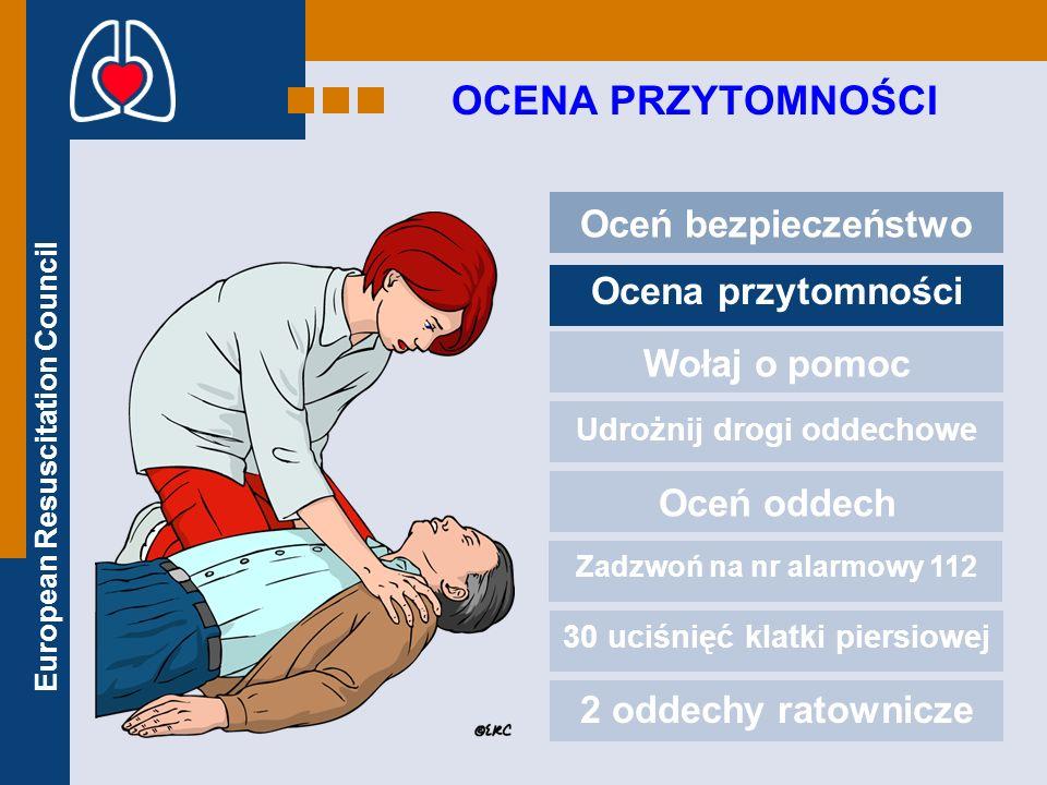 European Resuscitation Council OCENA PRZYTOMNOŚCI Oceń bezpieczeństwo Ocena przytomności Wołaj o pomoc Udrożnij drogi oddechowe Oceń oddech Zadzwoń na