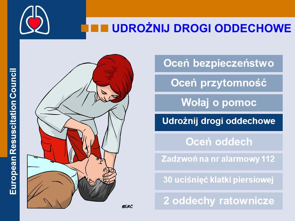 European Resuscitation Council UDROŻNIJ DROGI ODDECHOWE Oceń bezpieczeństwo Oceń przytomność Wołaj o pomoc Udrożnij drogi oddechowe Oceń oddech Zadzwo