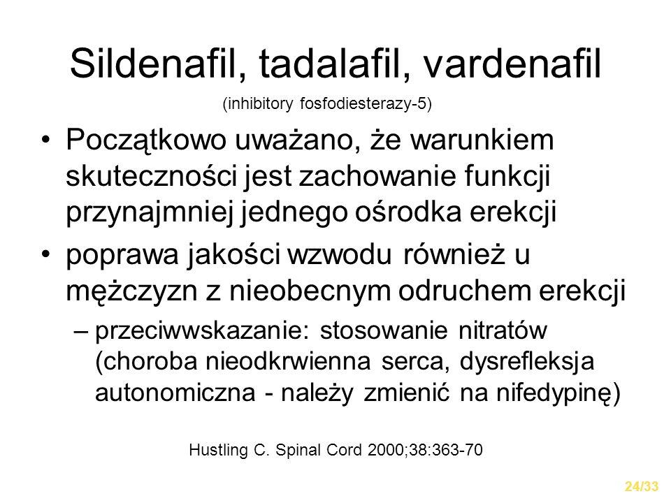 Sildenafil, tadalafil, vardenafil Początkowo uważano, że warunkiem skuteczności jest zachowanie funkcji przynajmniej jednego ośrodka erekcji poprawa j