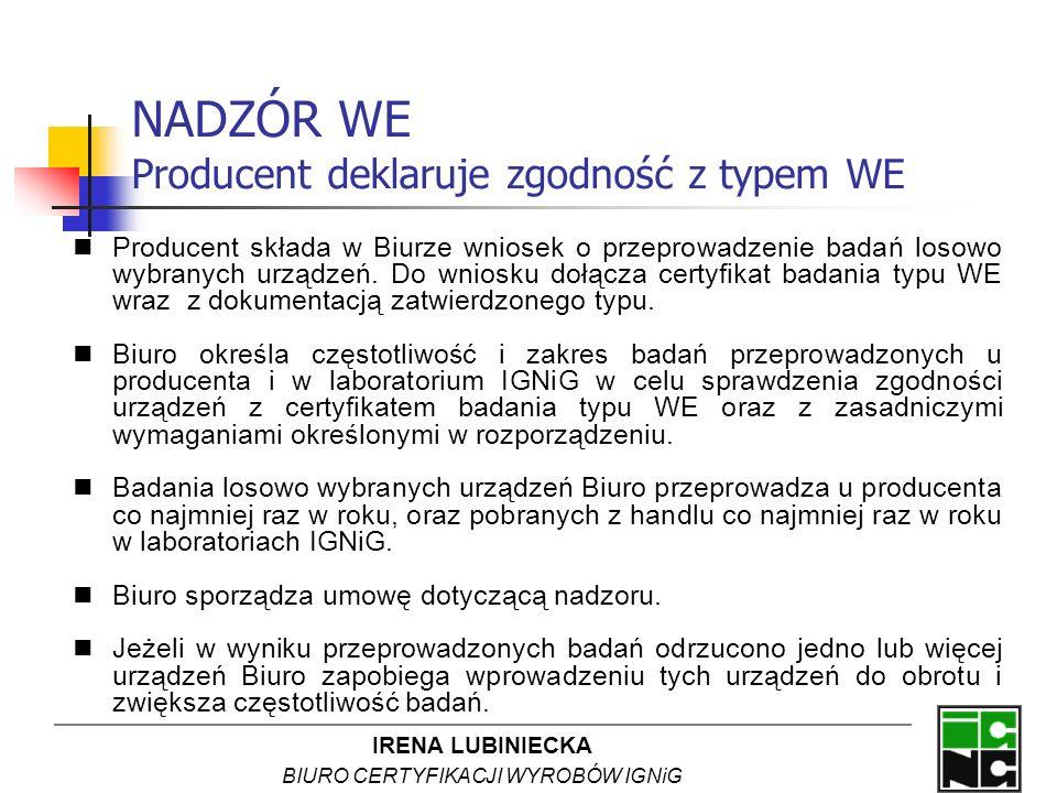 IRENA LUBINIECKA BIURO CERTYFIKACJI WYROBÓW IGNiG NADZÓR WE Producent deklaruje zgodność z typem WE Producent składa w Biurze wniosek o przeprowadzeni