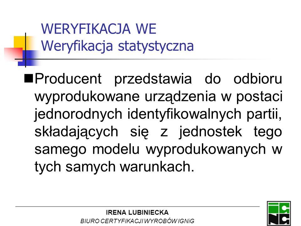 IRENA LUBINIECKA BIURO CERTYFIKACJI WYROBÓW IGNiG WERYFIKACJA WE Weryfikacja statystyczna Producent przedstawia do odbioru wyprodukowane urządzenia w