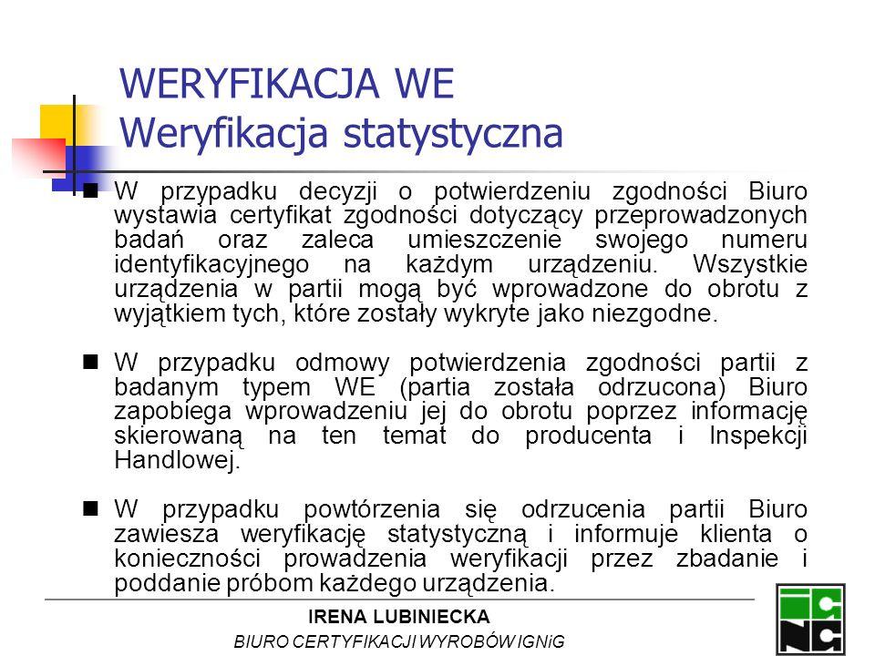 IRENA LUBINIECKA BIURO CERTYFIKACJI WYROBÓW IGNiG WERYFIKACJA WE Weryfikacja statystyczna W przypadku decyzji o potwierdzeniu zgodności Biuro wystawia