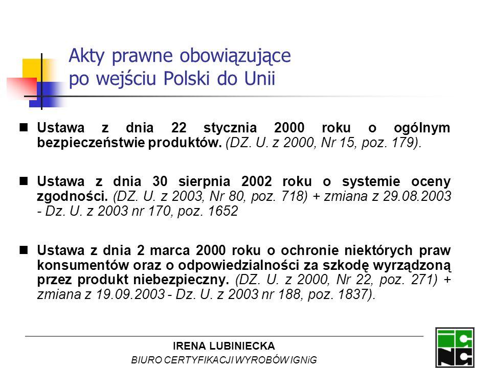 IRENA LUBINIECKA BIURO CERTYFIKACJI WYROBÓW IGNiG Akty prawne obowiązujące po wejściu Polski do Unii Ustawa z dnia 22 stycznia 2000 roku o ogólnym bez